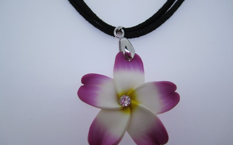 Fimo flower with crystal necklace