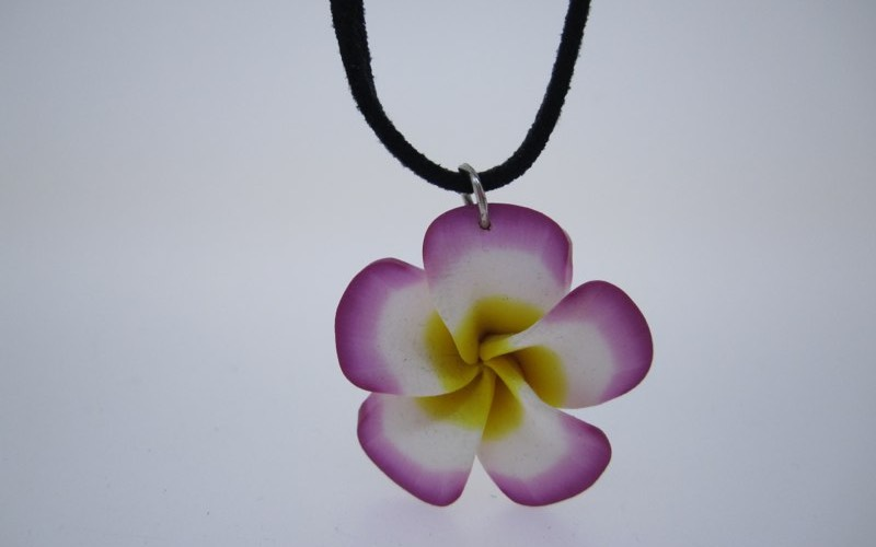 Fimo flower with suede necklace